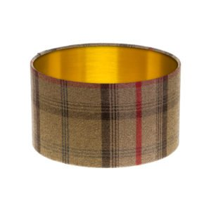 Balmoral Hunter Tartan Drum Lampshade Brushed Gold Inner