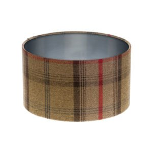 Balmoral Hunter Tartan Drum Lampshade Brushed Silver Inner