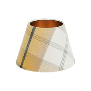 Balmoral Ochre Tartan Empire Lampshade Brushed Copper Inner