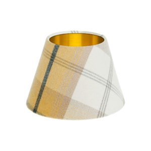 Balmoral Ochre Tartan Empire Lampshade Brushed Gold Inner