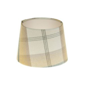 Balmoral Ochre Tartan French Drum Lampshade Champagne Inner