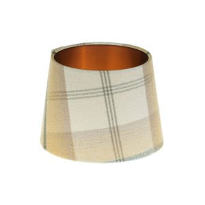 Balmoral Ochre French Drum Lampshade Brushed Copper Inner