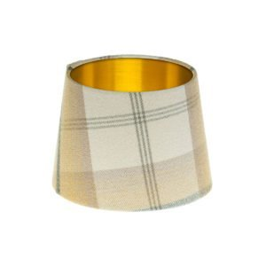 Balmoral Ochre Tartan French Drum Lampshade Brushed Gold Inner