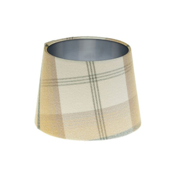 Balmoral Ochre Tartan French Drum Lampshade Brushed Silver Inner