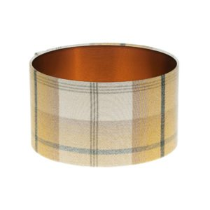 Balmoral Ochre Tartan Drum Lampshade Brushed Copper Inner