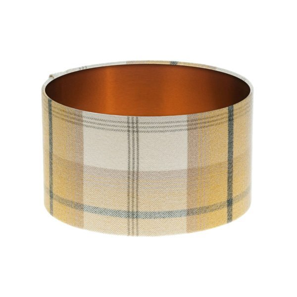 Balmoral Ochre Tartan Drum Lampshade Brushed Copper Inner