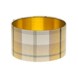 Balmoral Ochre Tartan Drum Lampshade Brushed Gold Inner