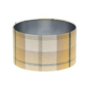 Balmoral Ochre Tartan Drum Lampshade Brushed Silver Inner