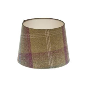 Balmoral Pistachio Tartan French Drum Lampshade Champagne Inner