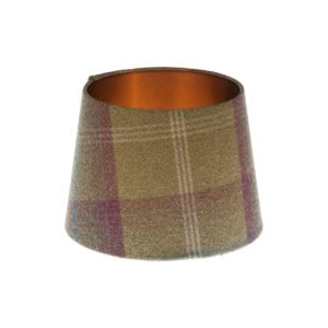 Balmoral Pistachio Tartan French Drum Lampshade Brushed Copper Inner
