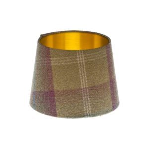 Balmoral Pistachio Tartan French Drum Lampshade Brushed Gold Inner