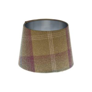 Balmoral Pistachio Tartan French Drum Lampshade Brushed Silver Inner