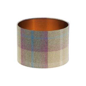 Balmoral Pistachio Tartan Drum Lampshade Brushed Copper Inner