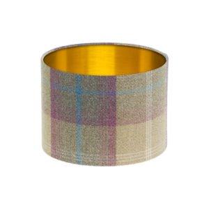 Balmoral Pistachio Tartan Drum Lampshade Brushed Gold Inner