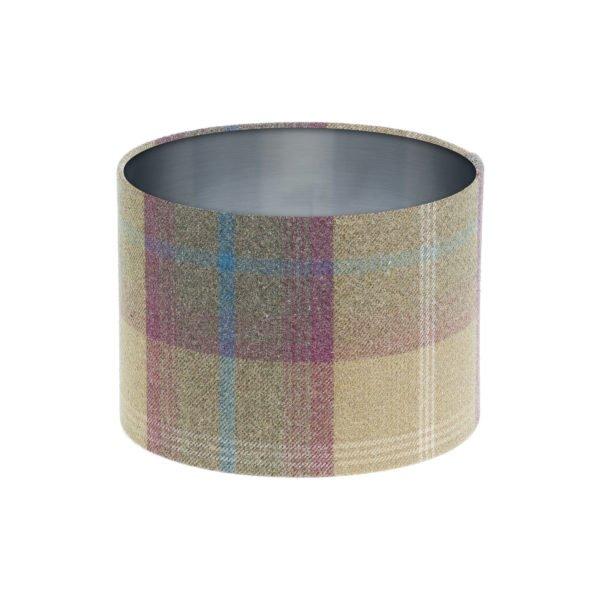 Balmoral Pistachio Tartan Drum Lampshade Brushed Silver Inner