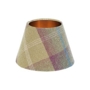 Balmoral Pistachio Tartan Empire Lampshade Brushed Copper Inner