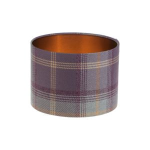 Balmoral Lavender Tartan Drum Lampshade Brushed Copper Inner