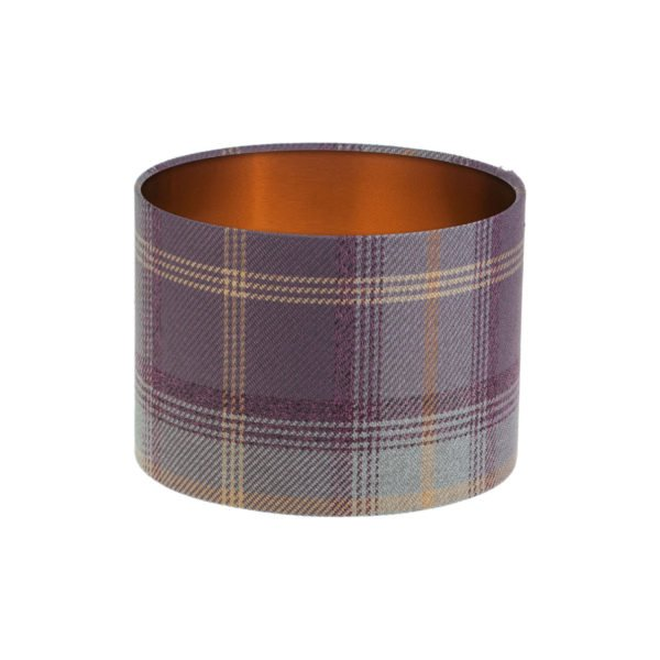 Balmoral Lavender Tartan Drum Lampshade Brushed Copper Inner