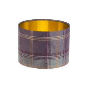 Balmoral Lavender Tartan Drum Lampshade Brushed Gold Inner