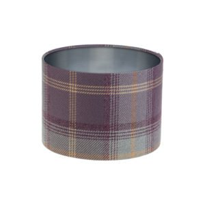 Balmoral Lavender Tartan Drum Lampshade Brushed Silver Inner