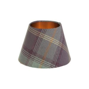 Balmoral Lavender Tartan Empire Lampshade Brushed Copper Inner