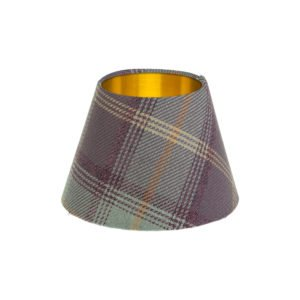 Balmoral Lavender Tartan Empire Lampshade Brushed Gold Inner