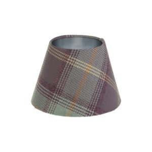Balmoral Lavender Tartan Empire Lampshade Brushed Silver Inner