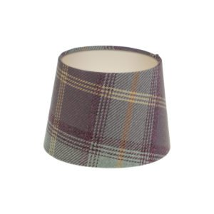 Balmoral Lavender Tartan French Drum Lampshade Champagne Inner