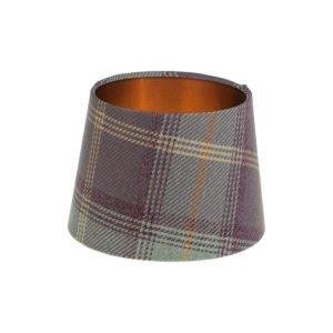 Balmoral Lavender Tartan French Drum Lampshade Brushed Copper Inner
