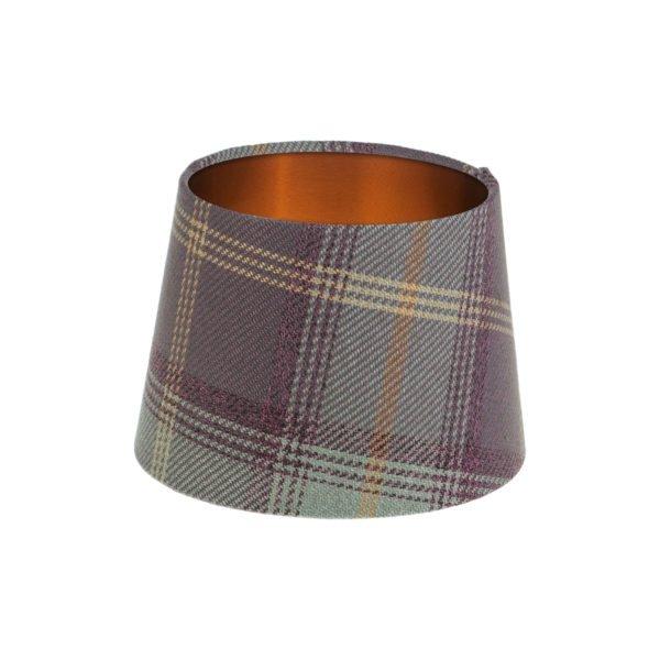 Balmoral Lavender Tartan French Drum Lampshade Brushed Copper Inner