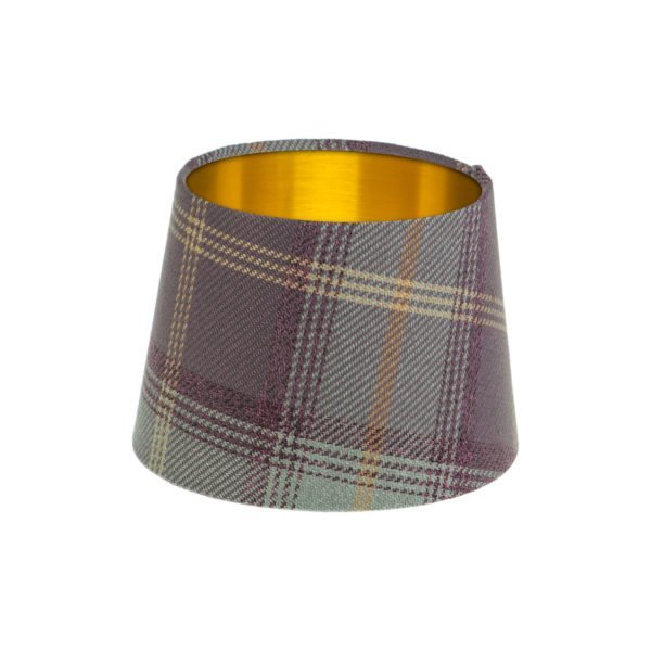 Balmoral Lavender Tartan French Drum Lampshade Brushed Gold Inner