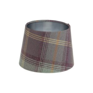 Balmoral Lavender Tartan French Drum Lampshade Brushed Silver Inner