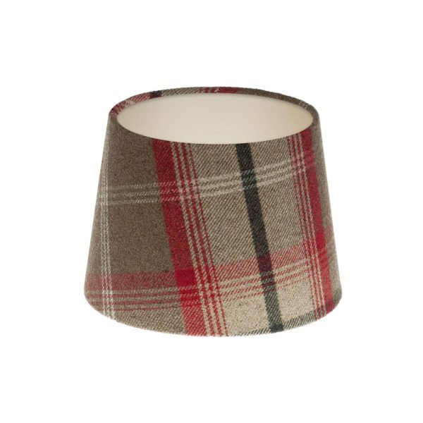 Balmoral Rosso Tartan French Drum Lampshade Champagne Inner
