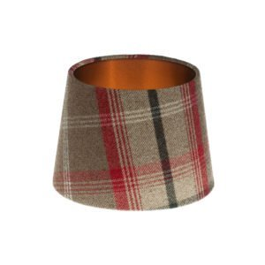 Balmoral Rosso Tartan French Drum Lampshade Brushed Copper Inner