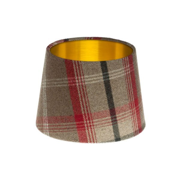 Balmoral Rosso Tartan French Drum Lampshade Brushed Gold Inner