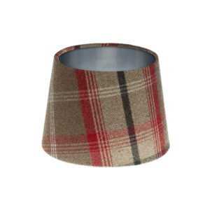 Balmoral Rosso Tartan French Drum Lampshade Brushed Silver Inner