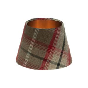 Balmoral Rosso Tartan Empire Lampshade Brushed Copper Inner