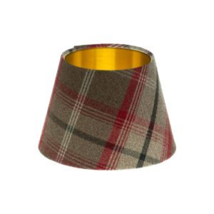 Balmoral Rosso Tartan Empire Lampshade Brushed Gold Inner