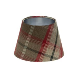 Balmoral Rosso Tartan Empire Lampshade Brushed Silver Inner