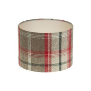 Balmoral Rosso Tartan Drum Lampshade Champagne Inner