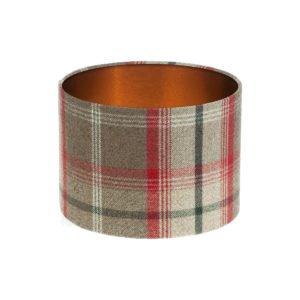 Balmoral Rosso Tartan Drum Lampshade Brushed Copper Inner