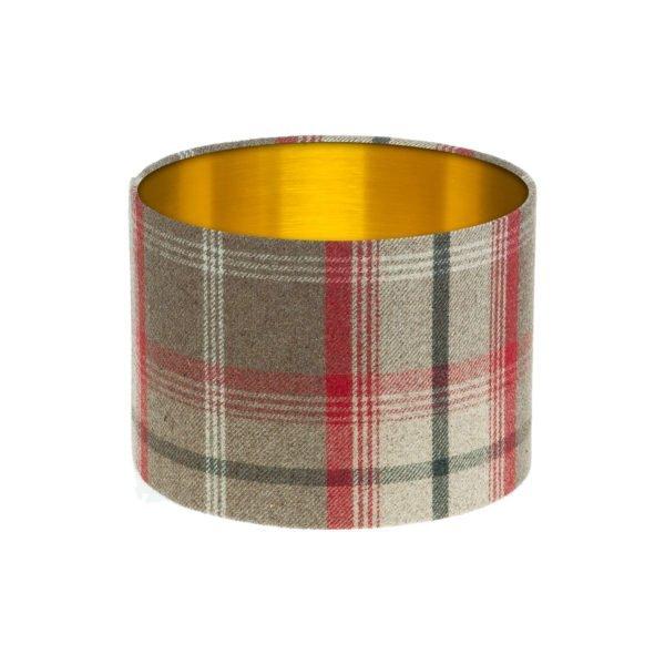Balmoral Rosso Tartan Drum Lampshade Brushed Gold Inner