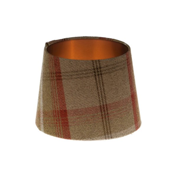 Balmoral Rust Tartan French Drum Lampshade Brushed Copper Inner