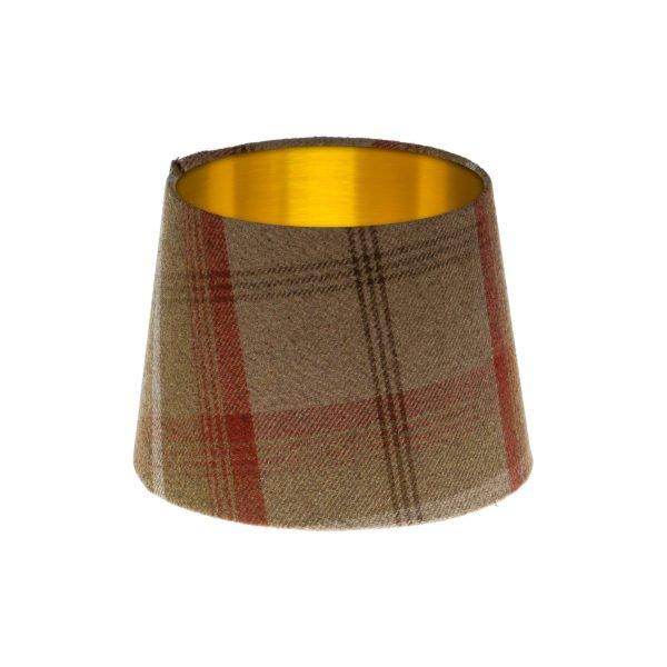 Balmoral Rust Tartan French Drum Lampshade Brushed Gold Inner