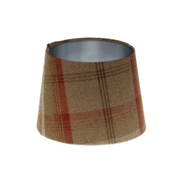 Balmoral Rust Tartan French Drum Lampshade Brushed Silver Inner