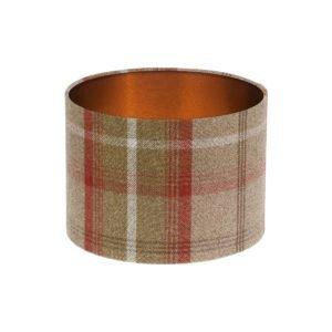 Balmoral Rust Tartan Drum Lampshade Brushed Copper Inner