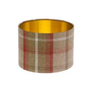 Balmoral Rust Tartan Drum Lampshade Brushed Gold Inner