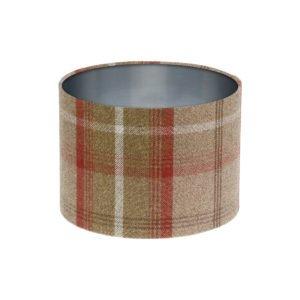 Balmoral Rust Tartan Drum Lampshade Brushed Silver Inner