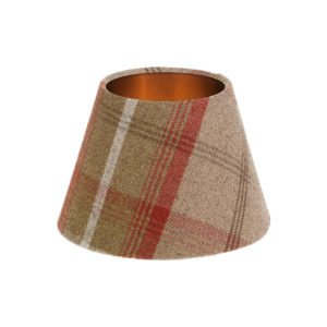 Balmoral Rust Tartan Empire Lampshade Brushed Copper Inner