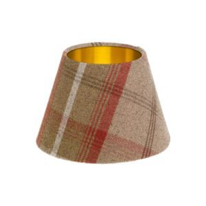 Balmoral Rust Tartan Empire Lampshade Brushed Gold Inner